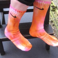 Unique one off tie dye nike  socks indie grunge trash from ladystardust-2013