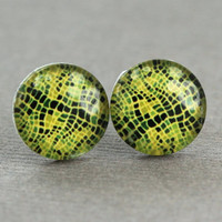 Snake Print Earrings  Black and Lime Green Stud by ArtisanTree