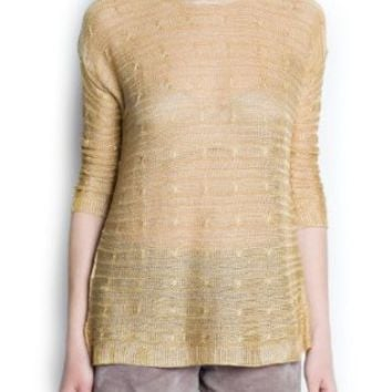 Amazon.com: Mango Women's Cable Knit Metallic Sweater: Clothing