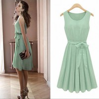 DAINTY PLEATED STYLE BOW TIE CHIFFON DRESS