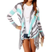 Gray/Multi Stripe Open Front Jersey Cardigan