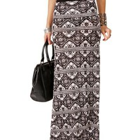 Black/White Horizontal Diamond Tribal Maxi Skirt