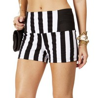 Black/White Elastic Sides Striped Shorts