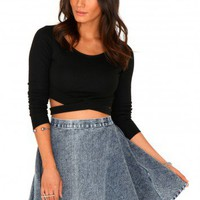 Missguided - Haya Stonewash Denim Skater Skirt
