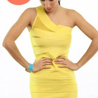 One Shoulder Bandage Dress- Bandage Dresses- Yellow Dresses- $49.99