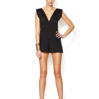 Georgina Knit Structured Shoulder V-Neck Romper by Alexis at Gilt