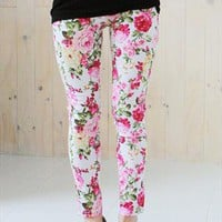 New floral print leggings jeans jeggings - white from zamong-boutique