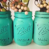 Painted distressed mason jars ombre emerald sea glass green vase vintage centerpiece wedding decor ball kerr or rustic wedding Pantone