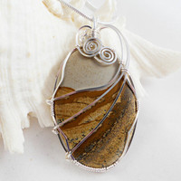 Wire Wrapped Jewelry, Handmade, Picture Jasper
