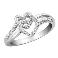 Diamond Double Heart Promise Ring in Sterling Silver, Size 8