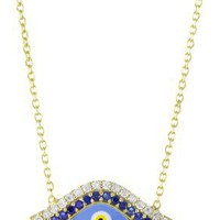"Susan Hanover Designs ""Evil Eye"" Gold Necklace with Encrusted Cubic Zirconia"