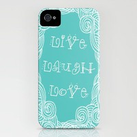Live Laugh Love Teal iPhone Case by Kayla Gordon | Society6