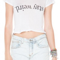 Brandy ♥ Melville |  Carolina Stay Weird Top - Graphic Tops - Clothing