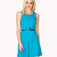 Fit & Flare Dress w/ Skinny Belt
