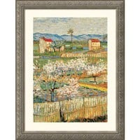 Great American Picture Pechers En Fleurs (Peach trees) Silver Framed Print - Vincent van Gogh - 2463 - All Wall Art - Wall Art & Coverings - Decor