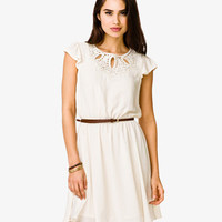 Embroidered Dress w/ Skinny Belt