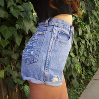 Vintage Distressed Bill Blass High Waisted Denim Shorts: Etsy women's vintage