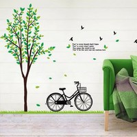 Amazon.com: WallStickerUSA Bicycle Next To Tall Tree Poem Sticker Decal for Baby Nursery Kids Room: Baby
