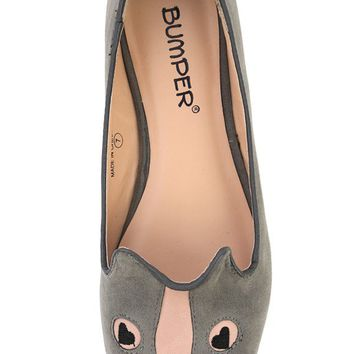 Bumper Huey-33 Gray Puppy Embellished Flats and Shop Shoes at MakeMeChic.com