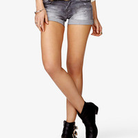Pyramid Studded Distressed Denim Shorts