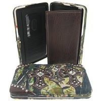 Amazon.com: Canvas Camo Triple Rhinestone Cross Thick Flat Wallet Clutch Purse (brown): Clothing