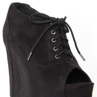 Lace-up Peep Toe Wedge Bootie - Footwear