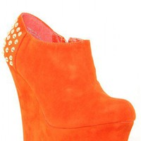 Faux Suede Studded Back Wedge - Footwear