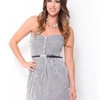 Pin Stripe Belted Dress - Dresses