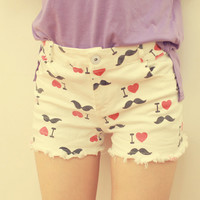 Hot I Love Moustache Distressed Slim Shorts