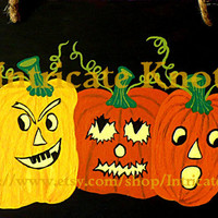 Folk Art / Primitive / Recycled / Cardboard Art - Original Painting - Jack O Lanterns - Classic Halloween- Halloween - IntricateKnot