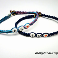 Initial Bracelets for Couples, Dark Blue and Purple Haze, Made to Order