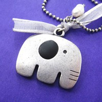 Simple Cute Elephant Animal Charm Necklace in Silver