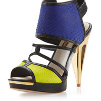 Hex Colorblock Sandal, Blue/Green