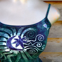 Batik Stretchy Handmade Yoga Tanktop in Teal and Purple
