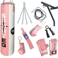 4ft Pink Rex Leather,Kick Boxing,Punch Bag,Punchbag Set