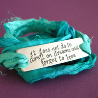 Personalized Sari Silk Wrap Bracelet Stamped with Custom Quote