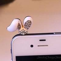 1PC Bling Crystal Cute Rabbit's Ear Smart Phone Head Earphone Charm Cap Anti Dust Plug for iPhone 5, iPhone 4, Samsung S4 S3, Nokia, HTC