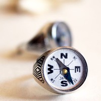 Nautical Compass Ring by peacocktaco on Etsy