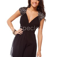 Feminine Black A-line V-neck Mini Sequins Tulle Cocktail Dress-SinoSpecial.com