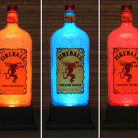 Fireball Cinnamon Whiskey Color Change Bottle Lamp Light LED Remote Bar Sign Bodacious Bottles