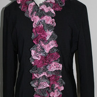 Knit Ruffle Scarf - Pinks and Grey
