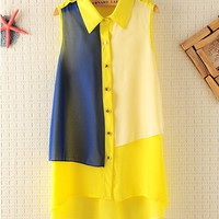 Contrasting Color Sleeveless Chiffon Shirt