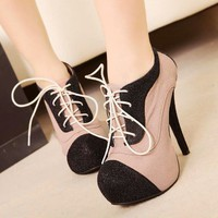 Classic Korea Women Super High Heels Platform Lace-up Shoes Pumps Black Pink 1n9