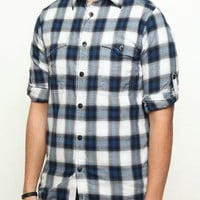 Ben Sherman Workwear Long-Sleeved Check Shirt - Blue