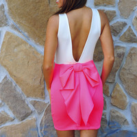 Better With Bows Dress: Neon Pink/ White | Hope's