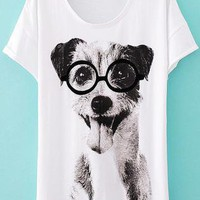 Cute Dog Slim T-shirt For Her