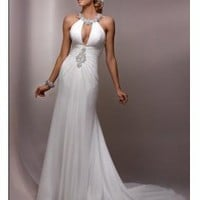 Fashion white Strapless Neckline, Mermaid, Floor-length Gown with Applique and Beading Wedding Dress WD201232