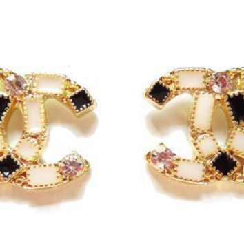 Elegant Chanel Nude Color Crystal Stud Earrings
