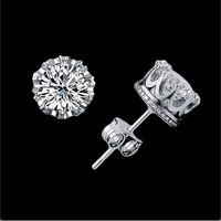 PenBangs — Silver CZ Crown Shape Studs