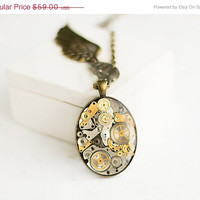 ON SALE Steampunk Pendant, Old Watch Parts, Stopped Time Pendant, Resin, FREE shipping